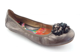BORN Size 9.5 Pewter Metallic Ballet Flats Shoes 9 1/2 w/ Flower - $49.00
