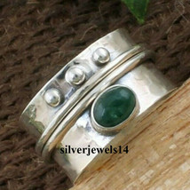 Green Onyx Stone Ring Solid 925 Sterling Silver Spinner Handmade Jewelry... - $11.49+