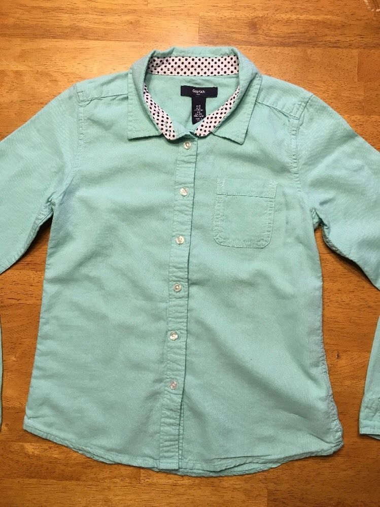 Gap Kids Girl's Teal Long Sleeve Dress Shirt - Size: Medium image 2