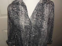 Womens Blouse Lane Bryant Size 16 Button Down Snake Skin Pattern Cotton ... - $11.87