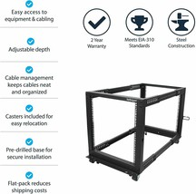 StarTech.com 12U Adjustable Depth Open Frame 4 Post Server Rack w/ Casters - $249.99