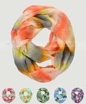 Wave Texture Tie Dye Block Circle Loop Wrap Infinity Scarf Multi Color Soft - $6.45