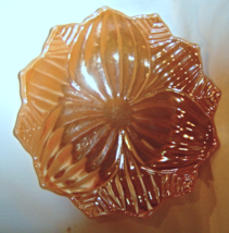 Vintage Hocking Glass Fire King Peach Luster Lunch Plate Lotus Blossom &... - $24.99