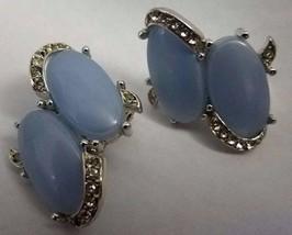 """Rare VTG Signed KRAMER Blue Stone & Rhinestone 1 3/8"""" Clip On Earrings  - $8.77"""