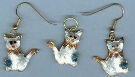 CLOISONNE CAT EARRINGS  WITH SHEPHERD HOOKS & PENDANT - $8.00