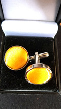 gold silk on silver cufflinks, silver with silk design on cufflinks gift boxed