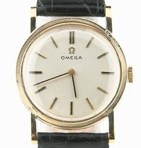 Vintage Omega 14k or Jaune Remontage Mécanique Watch W / Bracelet Cuir - $1,188.52