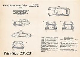 """20""""x28"""" Vintage Porsche Poster Print Presents 911 Patent Artwork 1964 Au... - $30.20"""