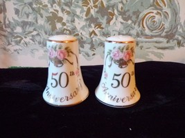 LEFTON 50th Anniversary Gold Bells Porcelain salt and pepper shakers - $14.85