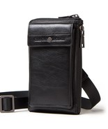 genuine leather men shoulder bag for cell phone with card holders male v... - $71.79