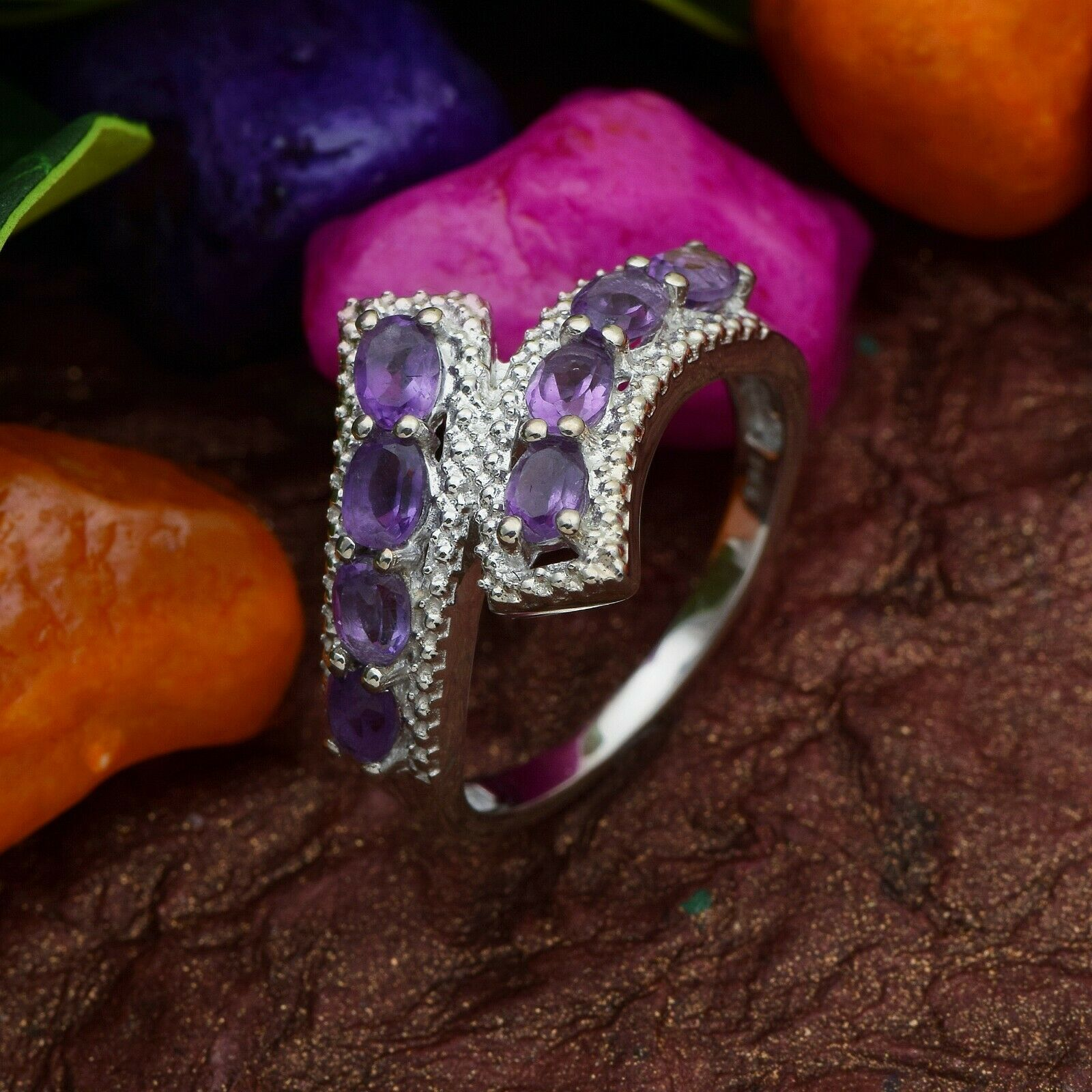 Primary image for Shine Jewel 925 Sterling Silver 5x3 MM Amethyst Bypass Over Wrap Elegant Ring