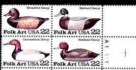 USPS Stamps - Plate Block - Folk Art - Broadbill Decoy 22 cent stamps - $2.90