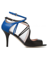 Signature by ShoeDazzle Tayte Black/Blue Small Heel Straps and Mesh US S... - $23.65
