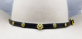 BLACK HATBAND Genuine Leather with GOLD Rhinestone Crystals, Tandy 3D & Star Con - $26.99