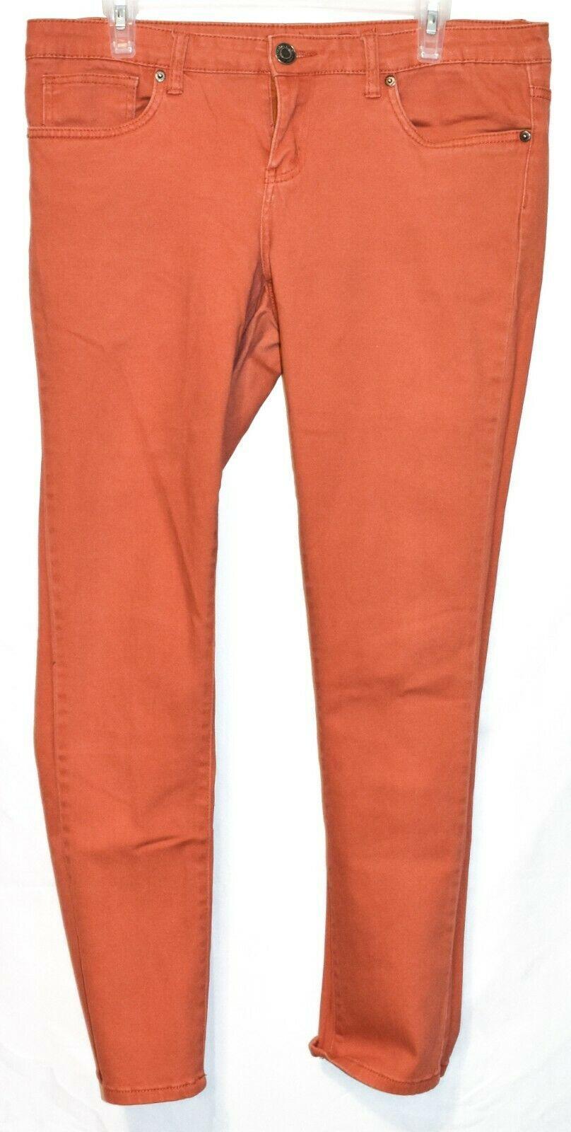 Rue 21 Women's Tomato Red Orange Mid-Rise Skinny Jeans Size 11/12