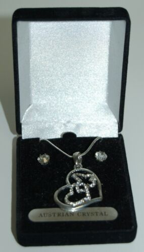 Austrian Crystal Heart Butterfly Necklace Earring Set Silver Color