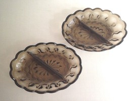 "2 Vintage Smoke Glass Candy Peanut Divided Bowl Dish 6.5"" Long 5"" Wide 1... - $10.73"