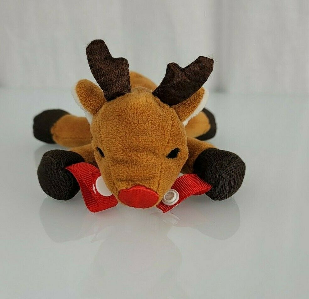 Dr Browns Brown's Rudolph the Red Nose Nosed Reindeer Pacifier Teether Holder - $39.59