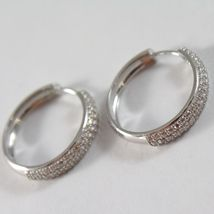 White Gold Earrings 750 18k circle, diameter 2 CM, Triple Row Zirconia, 3 MM image 3