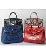 25cm Crocodile Embossed Italian Leather Birkin Style Satchel Handbag 1632S - $164.95
