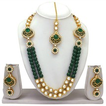 Traditional Indian Bridal Ethnic Gold Tone Fashion Jewelry Necklace Earr... - $14.30