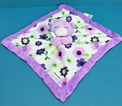Carters Teddy Floral Flowers Purple White Plush Toy Security Blanket Lovey - $10.95
