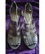 BCBG Generation Women's Silver Peep Toe High Heel Zipper Back Sandals Si... - $18.49