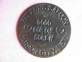 VTG Reproduction BRASS Cat House token Fat Annies Saloon Carson City Nevada - $11.73