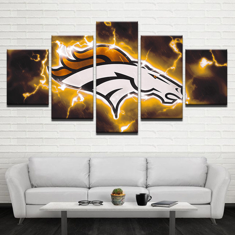Denver Broncos Flash Prints 5 Piece Canvas Art Wall Art