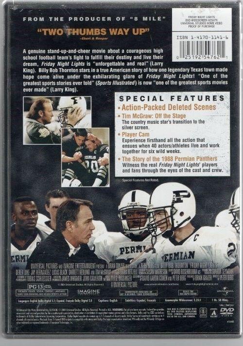 "DVD ""FRIDAY NIGHT LIGHTS"" Billi Bob Thornton;Best Sport Movie Said by Larry King"