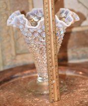 "Fenton? Clear White  MOONSTONE Glass Hob Nail Ruffled Top Vase 7.5""H image 5"