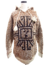 VINTAGE 1970s Cowichan Style HAND KNIT, WOOL SWEATER Mens M L, Hooded - $125.00