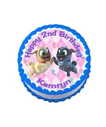 Puppy dog pals pink round edible party cake decoration frosting sheet image - $7.80