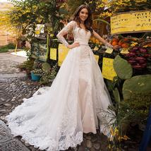 Elegant Mermaid Wedding Dresses With Beading Crystal Detachable Lace Tulle Train