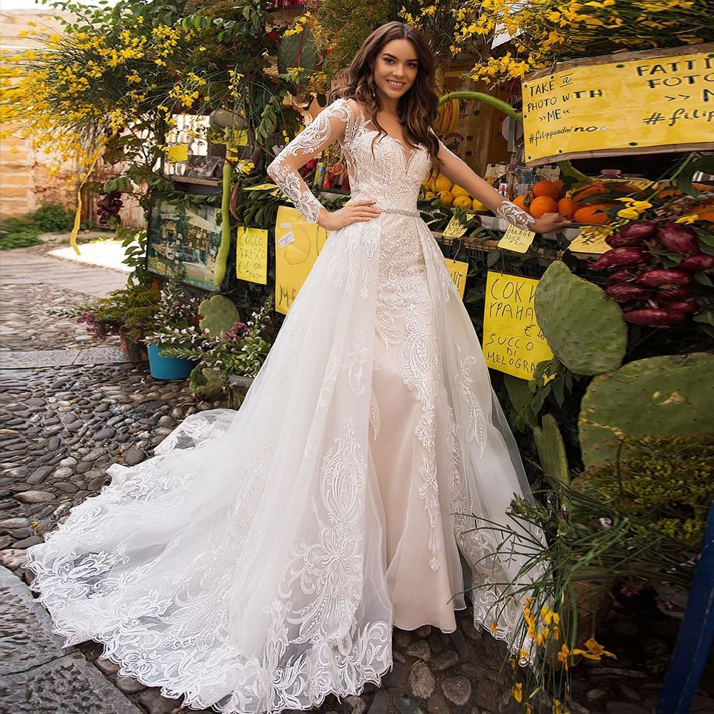 Rmaid wedding dresses with beading crystal detachable train vestido de noiva sereia lace tulle 2