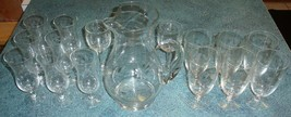 Lot of 16 Princess House Heritage Crystal Glasses Flutes And Pitcher - EXCELLENT - $87.29