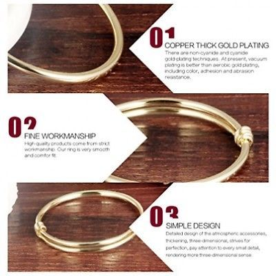 Stainless Steel 18K Gold Tone Traditional Smooth Bracelet Bangle Cuff For Baby