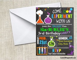 Mad Scientist Science Chalkboard Birthday Party Invitations Personalized... - $0.99+