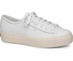 Keds WH58470 Women's Triple Kick Leather Glossy White Petal Pink Shoes, ... - $34.60