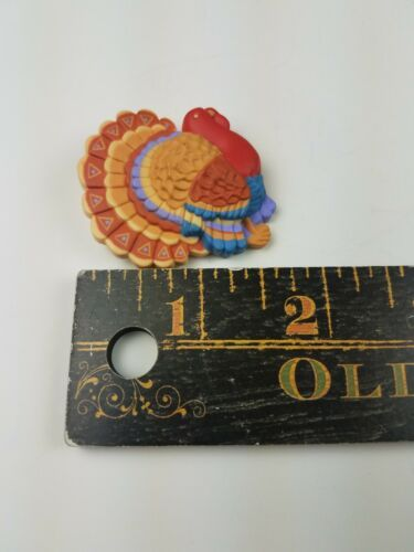 Hallmark Holiday Thanksgiving Pin Colorful Tom Turkey Red Blue Tan image 3