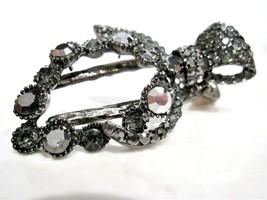2 1/4 inch silver metal gray crystal leaf alligator hair claw clip clamp - $11.66