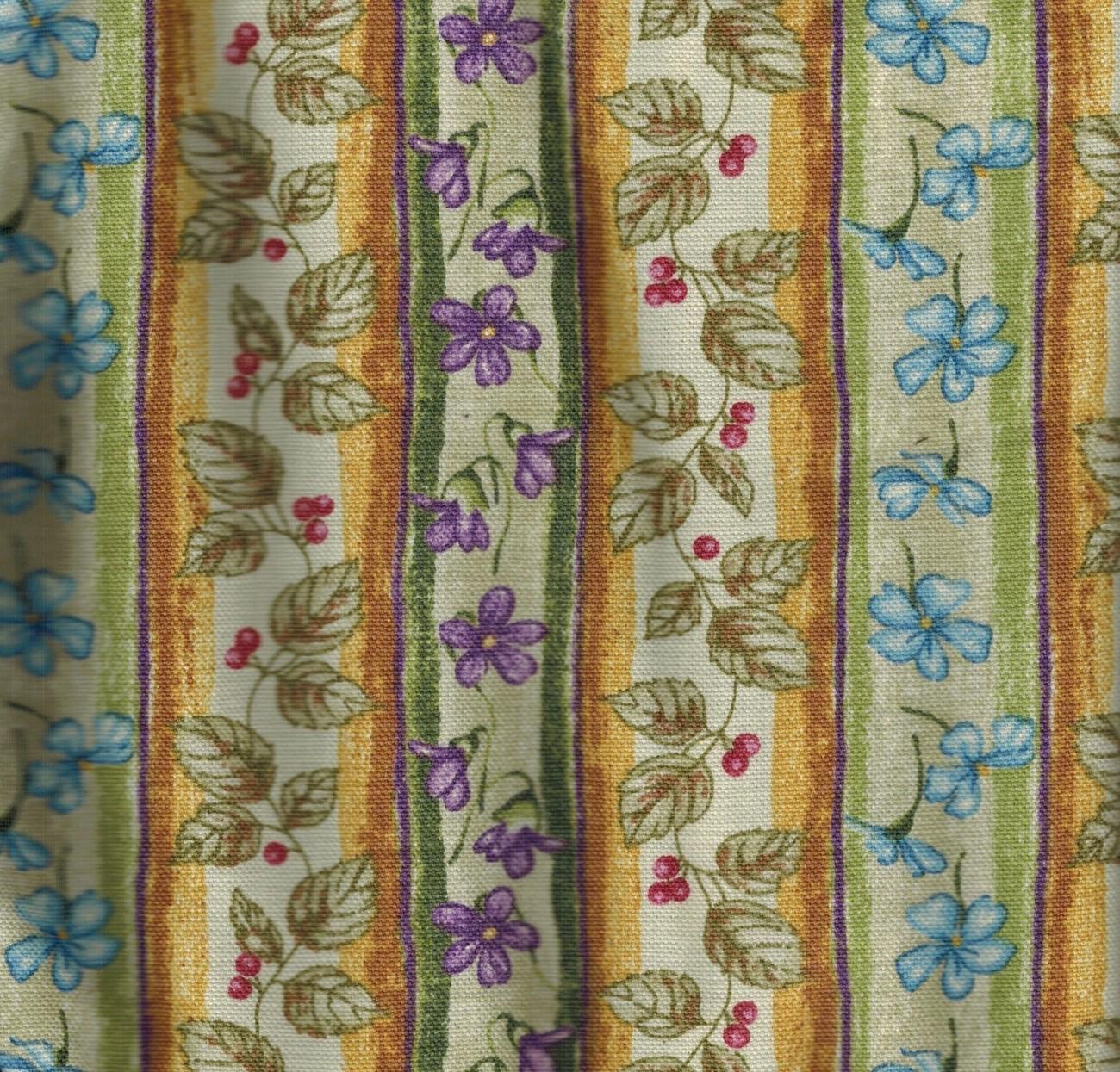 Longaberger Medium Oval Gathering Basket Liner ~ Botanical Fields Stripe Fabric