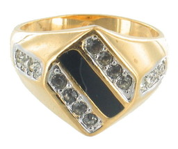 VINTAGE SWANK FAUX DIAMOND BLACK LAQUER GOLD TONE UNISEX RING SZ 13 - $60.74