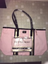 Victoria's Secret Beach Travel Tote Bag Shopper & Mini Bag Pink Gold Stripe-NEW - $31.99