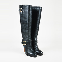 Jimmy Choo Black Leather Buckled Knee High Boots SZ 38 - $330.00
