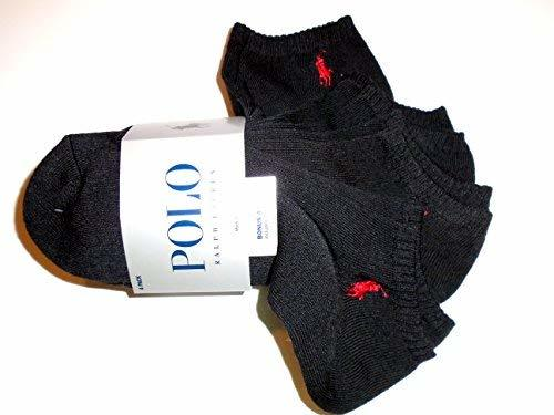 POLO Ralph Lauren Low Cut Ankle No-Show Socks (Black with Red Logos)