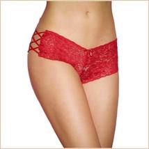 Floral Lace Open Criss Cross Sides Below The Waist Boy Cut Panties image 3