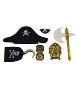 6pc Pirate Costume Accessories Pirate Hat Hook Eye Patch Compass Weapon ... - €8,42 EUR