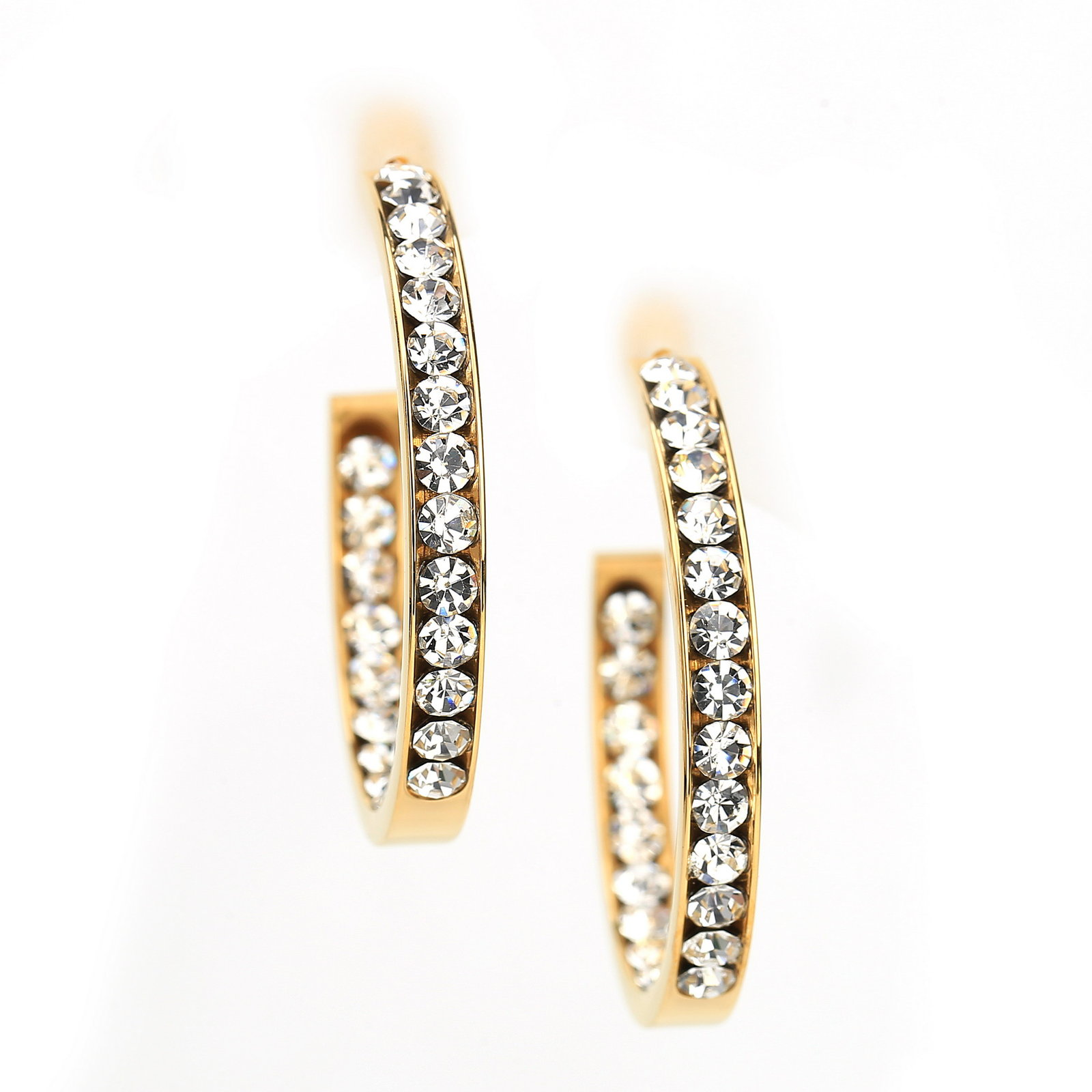 UNITED ELEGANCE Gold Tone Hoop Earrings With Sparkling Swarovski Style Crystals