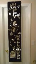 Black Felt Foil Lettered Happy Halloween Door Window Wall Party Decorati... - $12.99